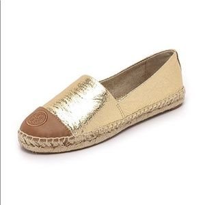 Gold Metalic Colorblock Espadrille Flat